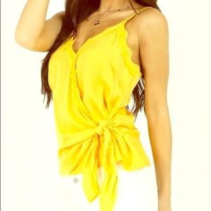 Yellow side tie tank. US size 6/M